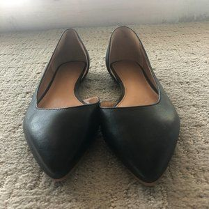 J.Crew Factory Pointed Toe Black Leather Flats